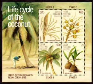 COCOS ISLAND 176a MH S/S SCV $4.75 BIN $2.00 LIFE CYCLE OF THE COCONUT