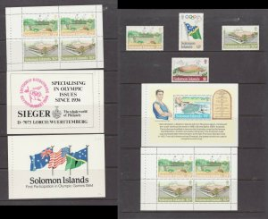 SG528-32  Soloman Islands 1984 - MNH -  Olympic Booklet Panes & singles - VF