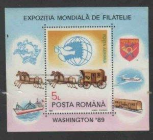 ROMANIA #C284 1989 WASHINGTON '89 MINT VF NH O.G S/S