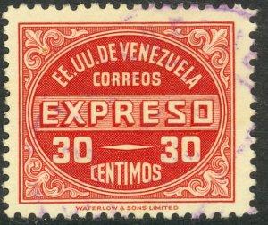 VENEZUELA 1949 30c SPECIAL DELIVERY STAMP Sc E1 VFU