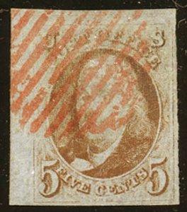 Scott #1c. Rare red orange shade. Scott $9,000.00. With 1994 PF certificate.