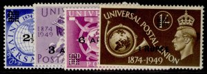 BRITISH POSTAL AGENCIES IN EA GVI SG31-34, anniversary of UPU set, M MINT.