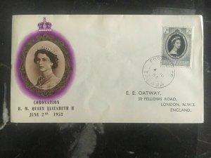 1953 Gilbert Islands First Day Cover FDC QE II Queen Elizabeth coronation