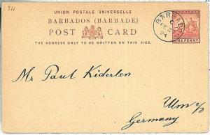 POSTAL HISTORY -  BARBADOS :  POSTAL STATIONERY CARD