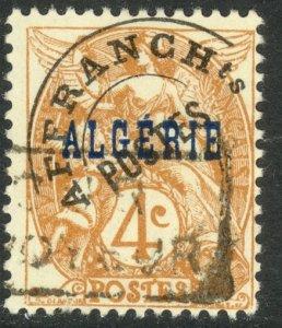 ALGERIA 1924-26 4c Yellow Brown with Precancel and Postmark Sc 4 VFU