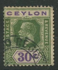 CEYLON -Scott 239a- KGV - Definitive - 1921- Wmk 4 - Used -Single 30c Stamp