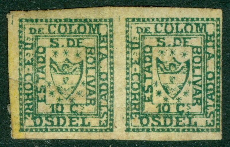 EDW1949SELL : COLOMBIA Bolivar 1863 Scott #1 pair. VF, large part OG. Cat $2400+