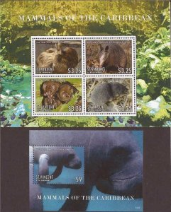 St Vincent - 2013 Mammals of the Caribbean - 4 Stamp Sheet + S/S #3874-5