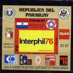 PARAGUAY 1976 INTERPHILA EXPO,S/S  MI  BL 275 ,MNH