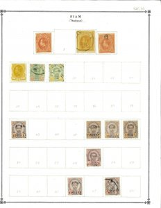 Thailand 1883-1932 Mint & Used Hinged on Scott Int. Blank Pages