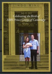 Tuvalu Royalty Stamps 2013 MNH Prince George Royal Baby William & Kate 1v S/S