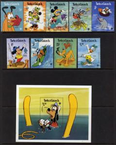 Turks & Caicos 399-408 MNH Disney, IYC, Goofy, Mickey