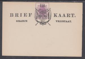 Orange Free State H&G 11 mint 1893 1½p surcharge on 2p Formula Card, VF