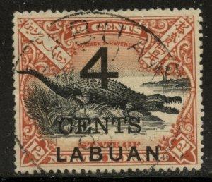 Labuan 1904 4c Surcharge on 12c Crocodile Sc# 113 postally used