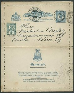QUEENSLAND QV 2d lettercard used 1911 to Austria - uprated ½d..............59980