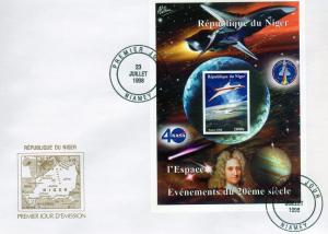 Niger 1998 Concorde-Halley's Comet s/s Imperforated in official FDC