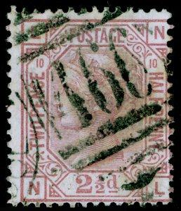 SG141, 2½d rosy mauve plate 10, USED. Cat £85. NL