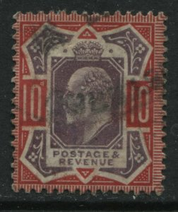 GB KEVII 10d  DLR showing NO CROSS ON CROWN lightly used