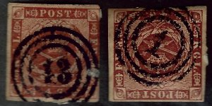 Denmark #4 & 4a Used F-VF...Grab Popular Stamps!