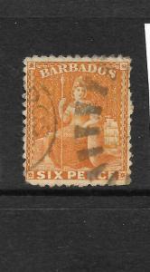 BARBADOS 1875 6d YELLOW  BRITANNIA FU P12 1/2 SG 70