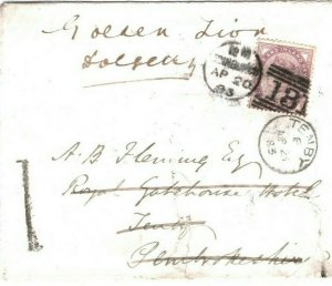 GB WALES Cover Pembrokeshire Tenby *1* REDIRECTED Edinburgh 1883 1d Lilac 89.30