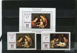 MANAMA 1969 Mi#210-211A,Bl.H35 PAINTINGS SET OF 2 STAMPS & S/S MNH