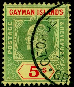 CAYMAN ISLANDS SG32, 5s green & red/yellow, FINE USED. Cat £75.
