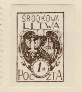 Central Lithuania Mittellitauen Lituanie Lituania 1921 1m MH* A8P11F134