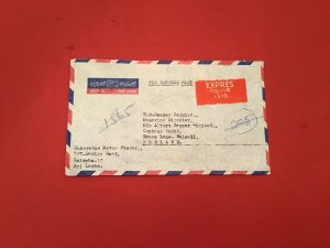 Sri Lanka Express Post Gunaratne Motor Stores Colombo Airmail stamp cover R36218