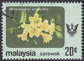 Sarawak # 253a used ~ 20¢ Flowers, unwmk.