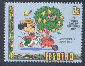 Disney; Mickey Mouse, Partridge in a Pear Tree. Birds, 1982 Lesotho, Scott #381