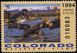COLORADO #5 1994 STATE DUCK  WOOD DUCKS by Sarah Woods