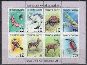 Tajikistan 2003  animals birds turtles moth  klb MNH