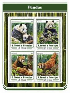 St Thomas - 2017 Pandas on Stamps - 4 Stamp Sheet - ST17116a