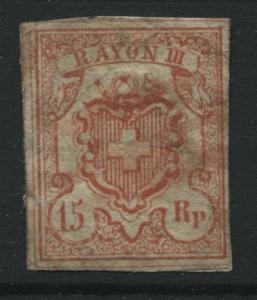 Switzerland 1852 rappen vermilion a little mint o.g. on back much is no gum