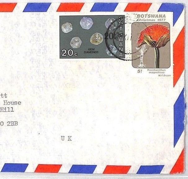 BT223 1977 Botswana 20t on 20c *Surcharge* GEM DIAMOND Commercial Airmail Cover
