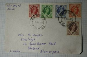 Rhodesia & Nyasaland FDC Set 1954 Sc# 141 142 143 144 145
