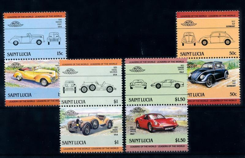 [71258] St. Lucia 1985 Automobiles Vintage Cars 4 Pairs MNH