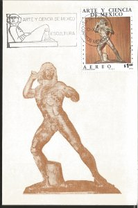 J) 1976 MEXICO, ART AND SCIENCE OF MEXICO, SCULPTURE, GUTEMBERG POSTCARD