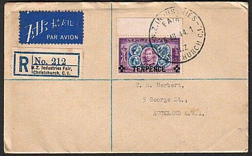 NEW ZEALAND 1944 reg cover NZ INDUSTRIES FAIR CHRISTCHURCH.................16478