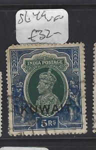 KUWAIT  (P2307BB)    ON INDIA KGVI 5R  SG 49  VFU