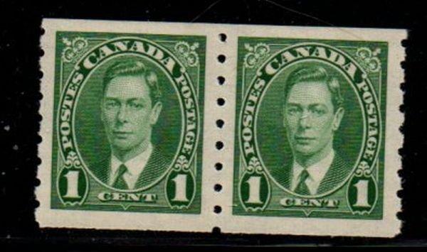 Canada Sc 238 1937 1 c  George VI coil stamp pair mint NH