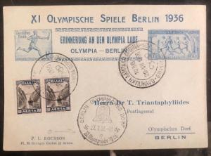 1936 Greece Postcard Cover Memory Of The Olympic Run To Berlin Germany