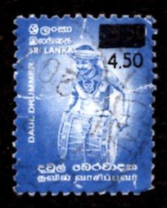 Sri Lanka SURCHARGED 2002 Daul Drummer, Dance 4.50r on 3.50r Sc.1406 Used (#7)