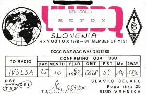 7095 Amateur Radio QSL Card  VRHNIKA SLOVENIA