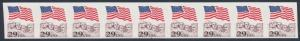 #2523b FLAG OVER MT. RUSHMORE MISPERF ERROR STRIP OF 9 WITH PLATE NO. 6 BS9546