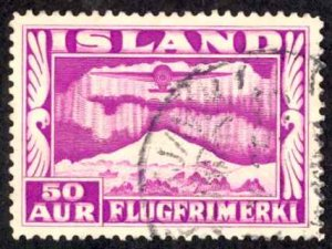 Iceland Sc# C18 Used 1934 50a Air Mail