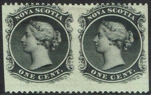 NOVA SCOTIA 1860 QV 1C PAIR ERROR IMPERF VERTICALLY
