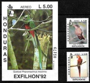 HONDURAS 1992 FAUNA BIRDS SET+S/S YV 792-3+BL49 MNH