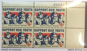 US #1342 PB (MNHOG) [Plate Block Mint No Hinge Original Gum] Support Our Youth